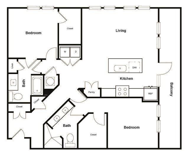 B7 2 Bed 2 Bath Floor Plan at Elevate West Village, Georgia, 30080