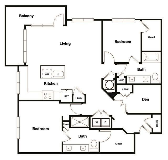 2 Bedroom 2 Bathroom Floor Plan at Elevate West Village, Smyrna, GA, 30080