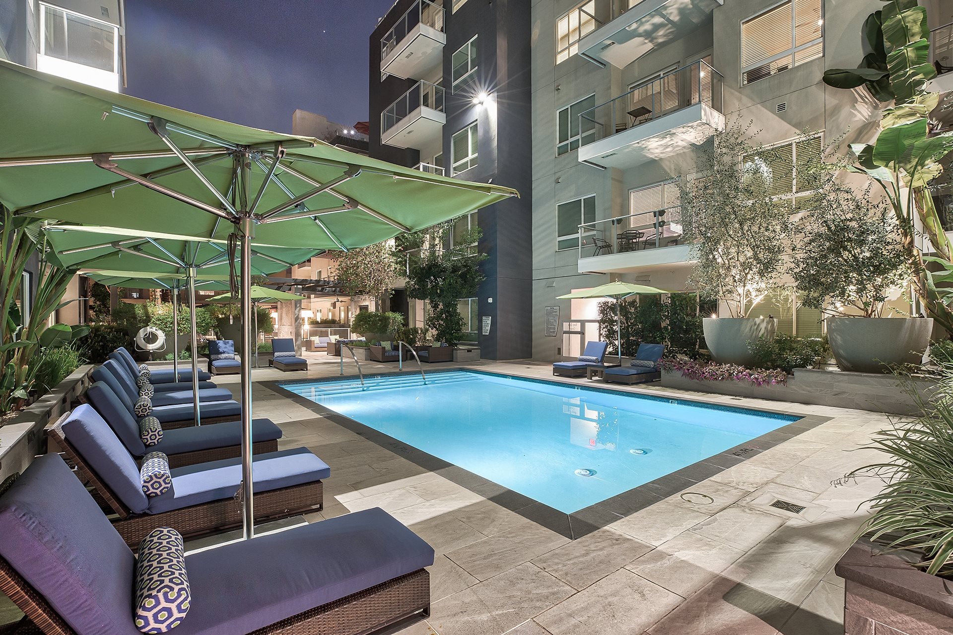 Spend the evening relaxing by the pool at Olympic by Windsor, 936 S. Olive St, CA