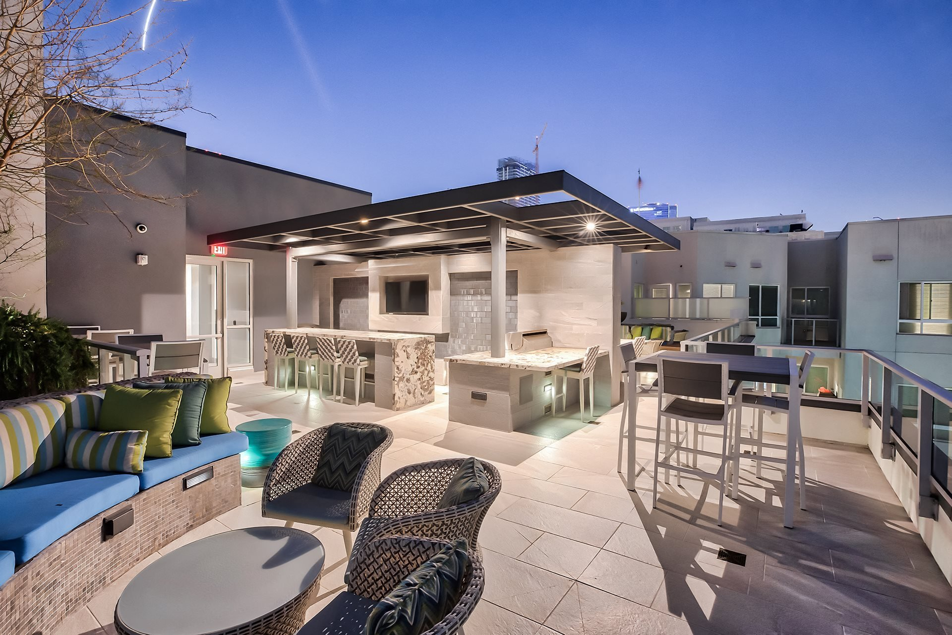 Outdoor lounge at Olympic by Windsor, 936 S. Olive St, CA