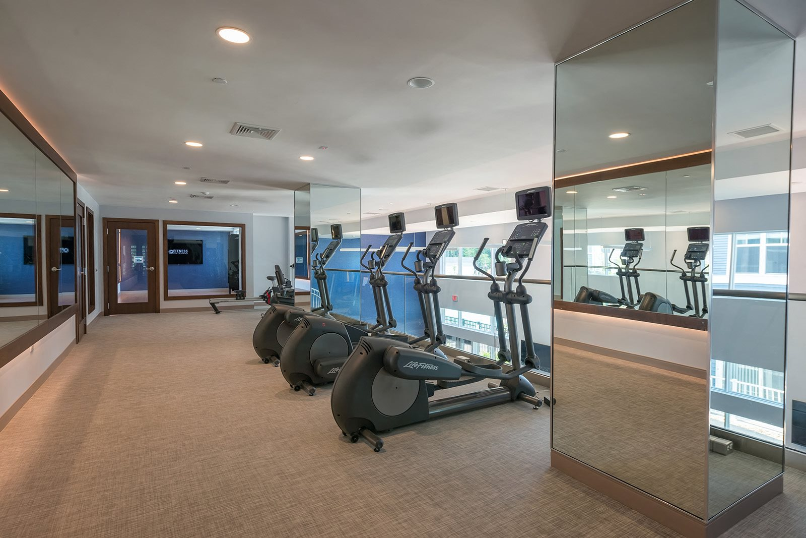 Floor-to-Ceiling Windows in Fitness Center at Hopkinton by Windsor, MA, 01748