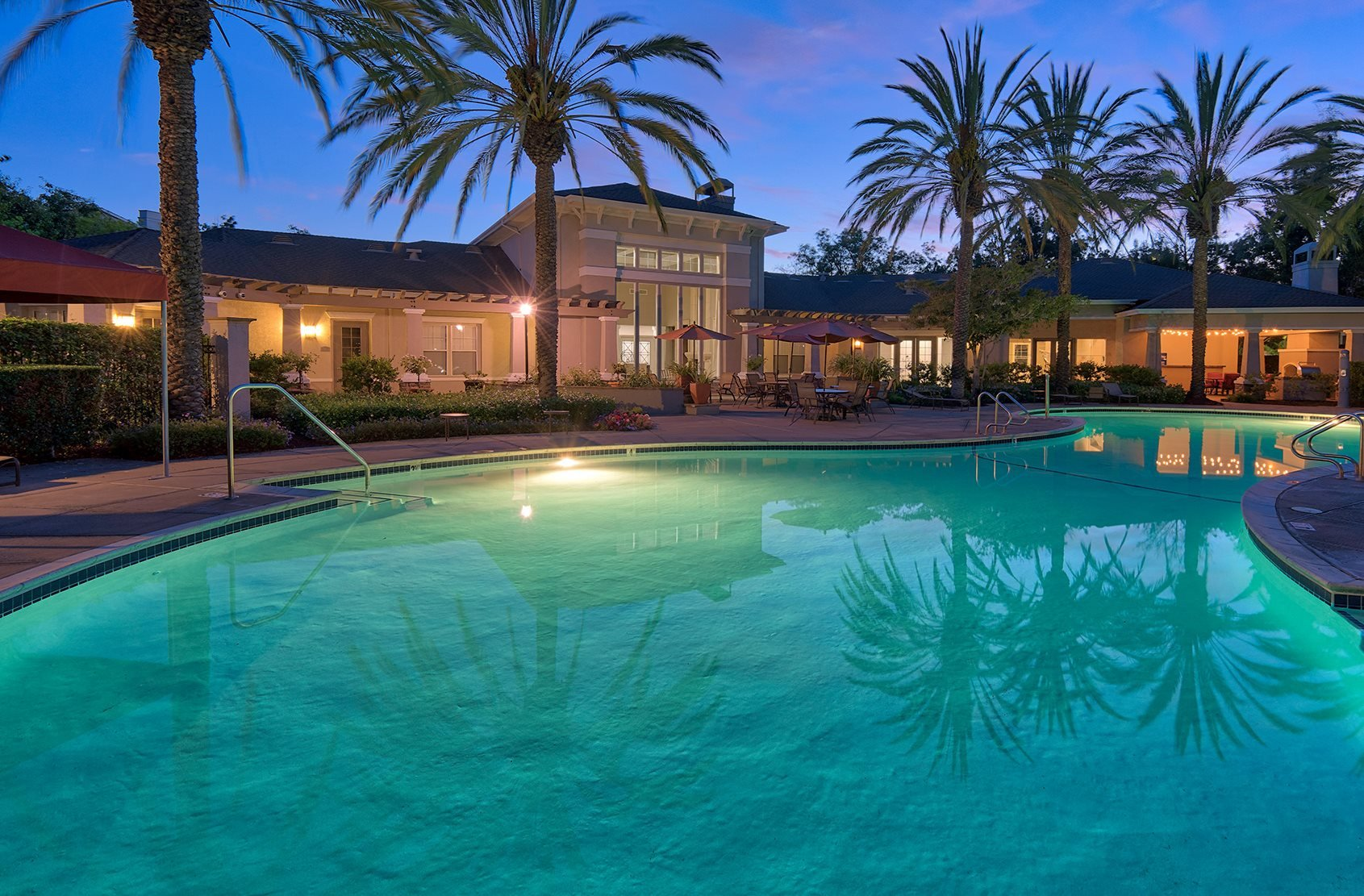 Pool at twilight at The Estates at Park Place, Fremont, California