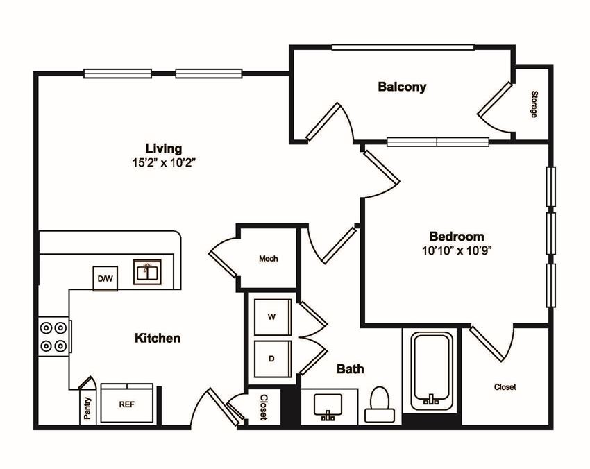 1 Bed 1 Bath Floor Plan at Windsor Castle Hills, Carrollton, Texas