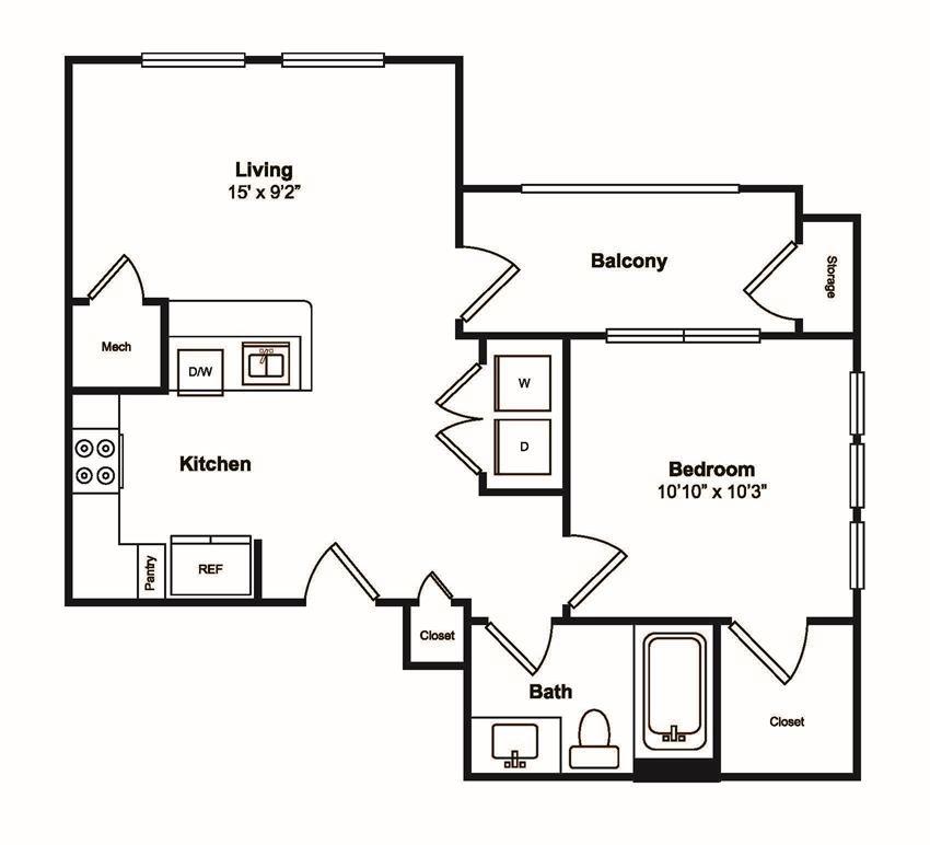 1 Bedroom 1 Bathroom Floor Plan at Windsor Castle Hills, Carrollton