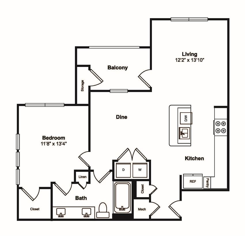 A5 1 Bed 1 Bath Floor Plan at Windsor Castle Hills, Carrollton, TX, 75010
