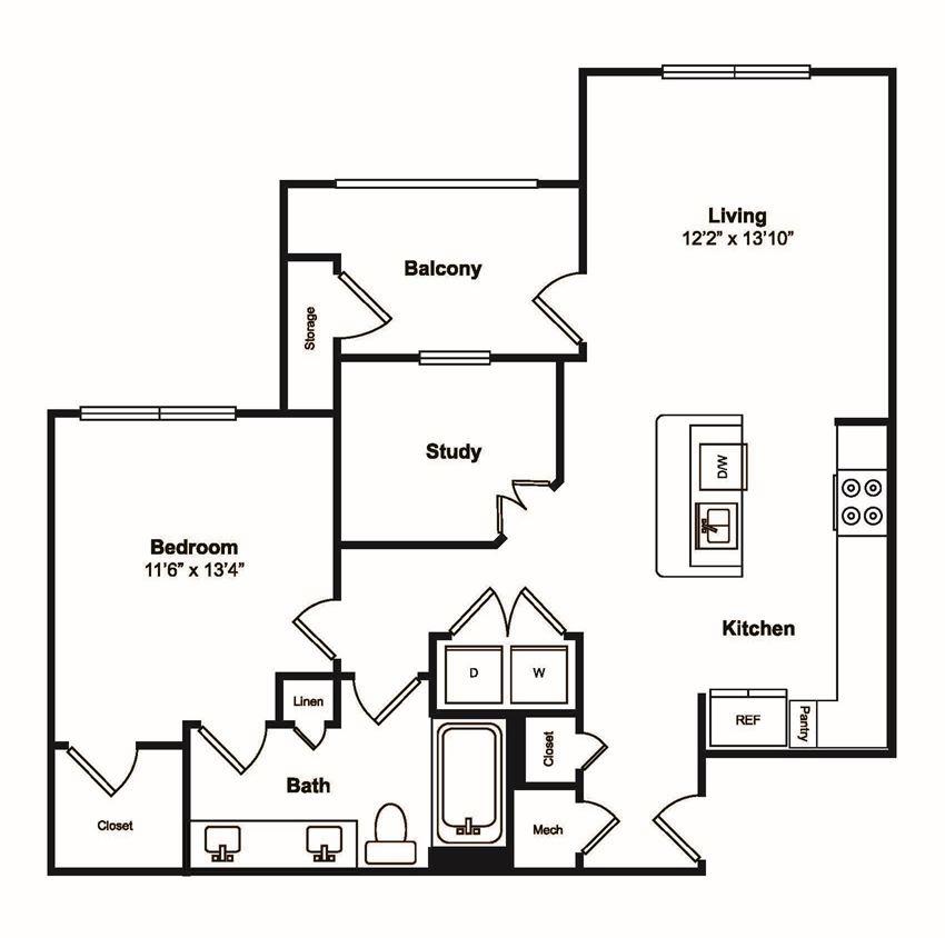 A6 1 Bedroom 1 Bathroom Floor Plan at Windsor Castle Hills, Carrollton, TX