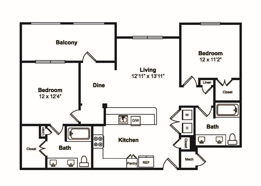 B3 2 Bed 2 Bath Floor Plan at Windsor Castle Hills, Carrollton