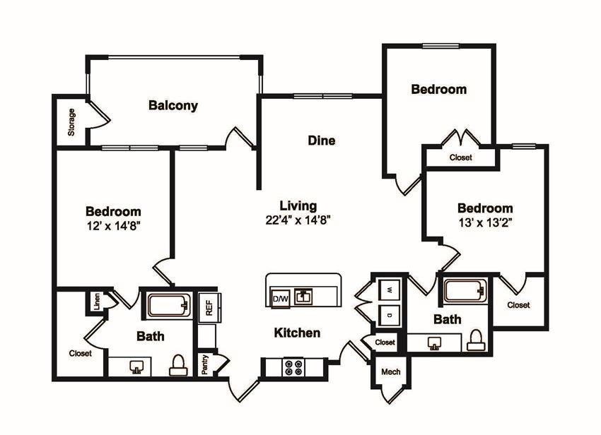 3 Bed 2 Bath Floor Plan at Windsor Castle Hills, Texas, 75010