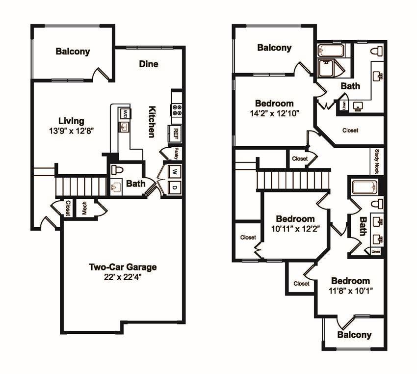 3 Bed 3 Bath Floor Plan at Windsor Castle Hills, Carrollton, TX