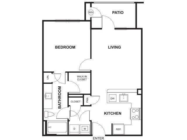 1 Bedroom 1 Bathroom Floor Plan at Windsor Ridge, Austin, 78727