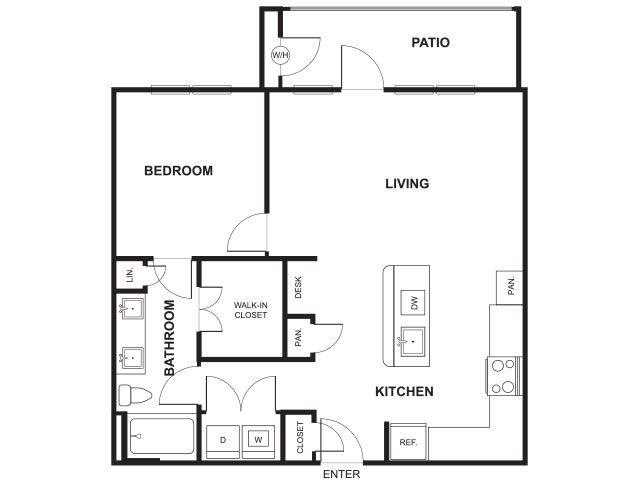 1 Bed 1 Bath Floor Plan at Windsor Ridge, Austin