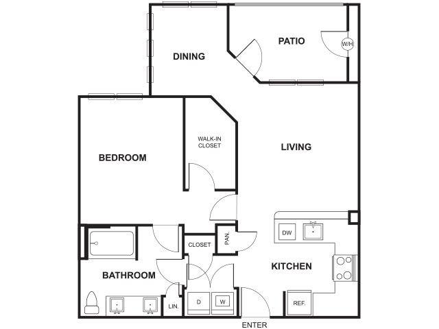 One bedroom One bathroom Floor Plan at Windsor Ridge, Texas