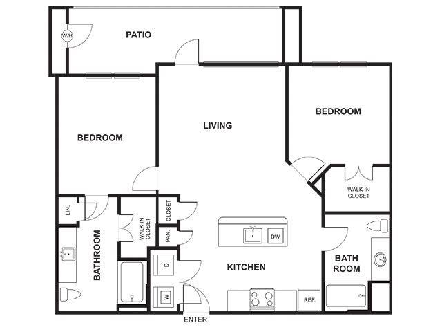 2 Bedroom 2 Bathroom Floor Plan at Windsor Ridge, Austin, TX, 78727