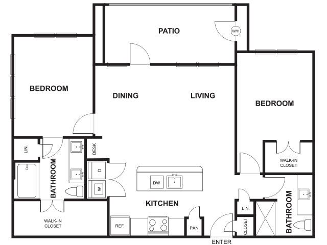 Two Bed Two Bath Floor Plan at Windsor Ridge, Austin