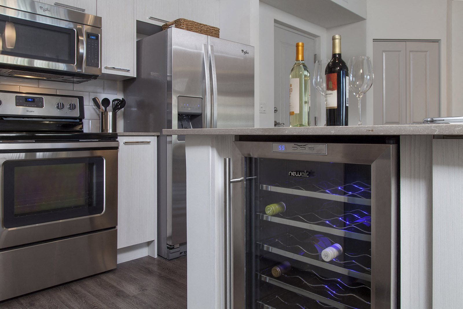 Our Delray Beach apartments offer kitchens with luxury features including wine coolers at Windsor at Delray Beach, Florida