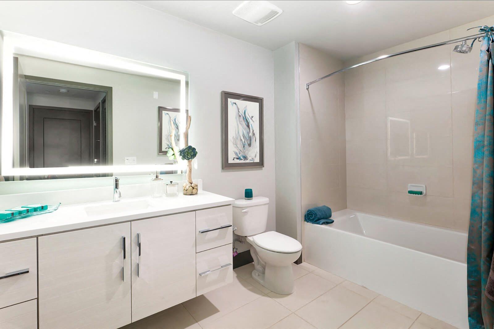 Vanity Sinks with Edge Lit Vanity Mirrors at Blu Harbor by Windsor, Redwood City, CA