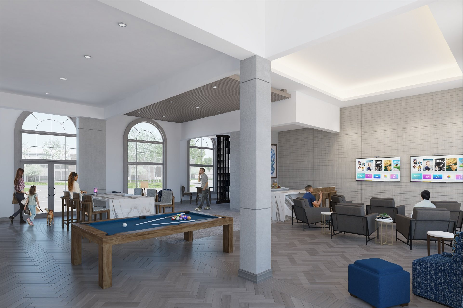 Redesigned modern clubroom at Windsor at Glenridge