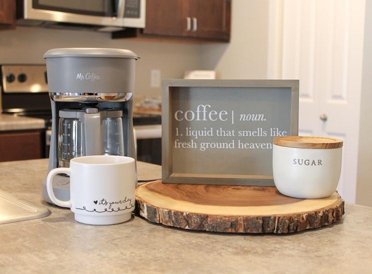 Victory Village Coffee Maker Candle Coffee Mug Wood
