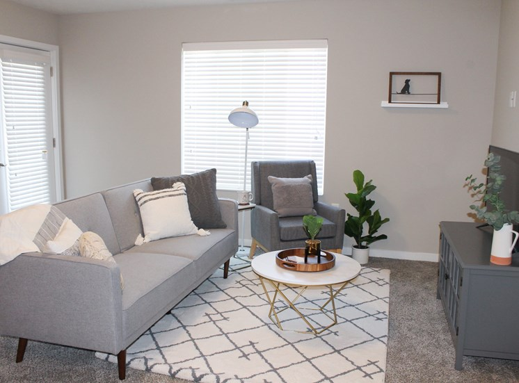 Victory Village Living Room Couch Chair Coffee Table Plants