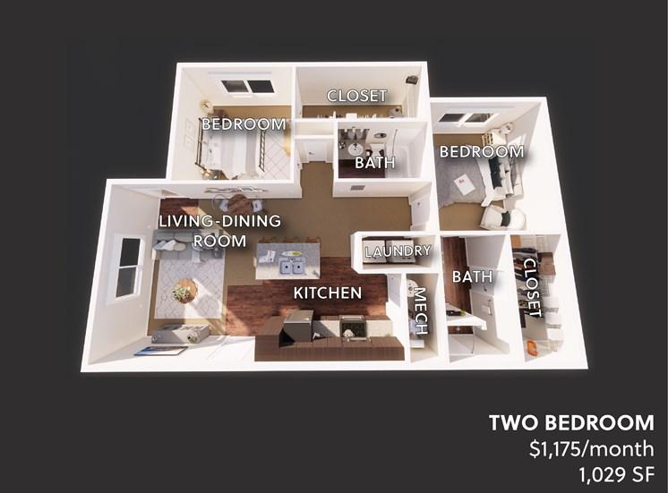 Victory Village Furnished 2 Bedroom Floor Plan