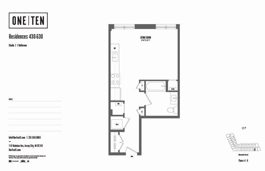 rental community, luxury apartments, jersey city, new jersey, NJ, greater NYC metropolitan area, floor plan, studio, oneten, 110 hoboken ave