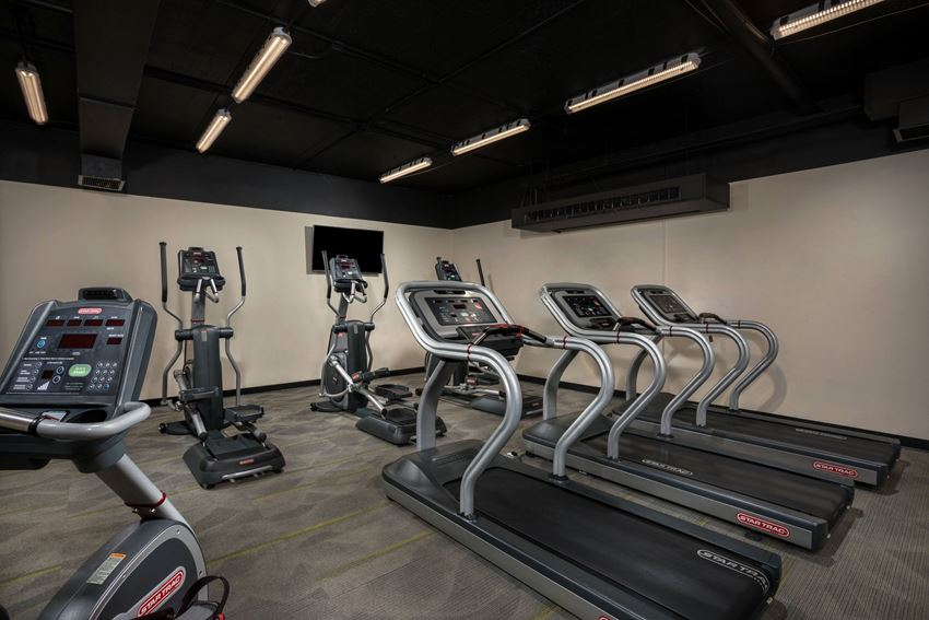 fitness center with cardio machines at Horizon Square apartments in Laurel, MD