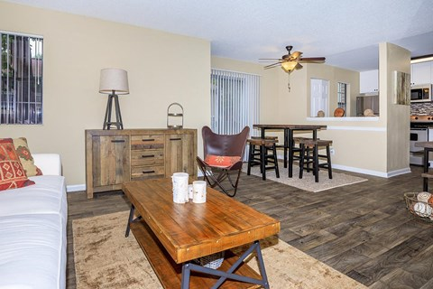 Living Room With Kitchen View at Forest Ridge on Terrell Mill, Marietta, GA, 30067