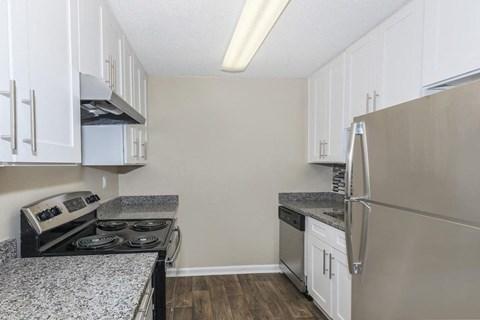 Kitchen interior Stainless steel refrigerator