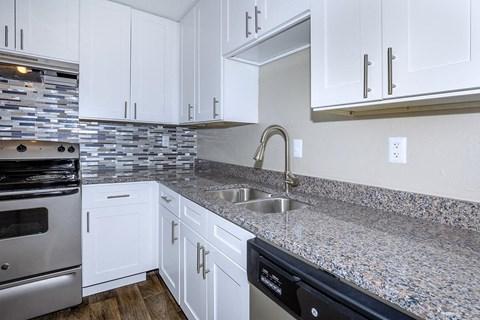 interior kitchen granite counter brush nickel sink