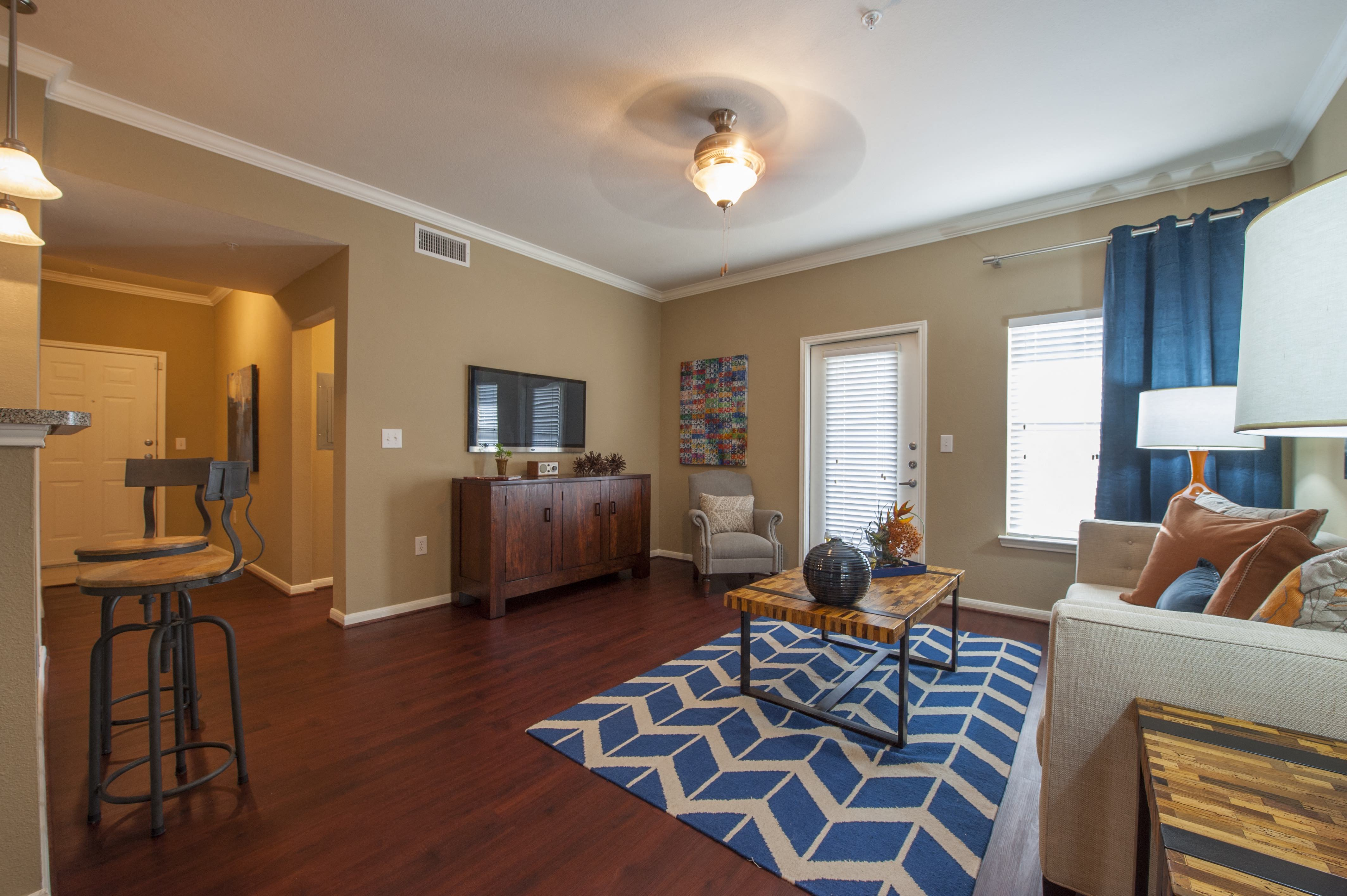 Decorated Living Room With Natural Light at Century South Shore, League City, TX, 77573