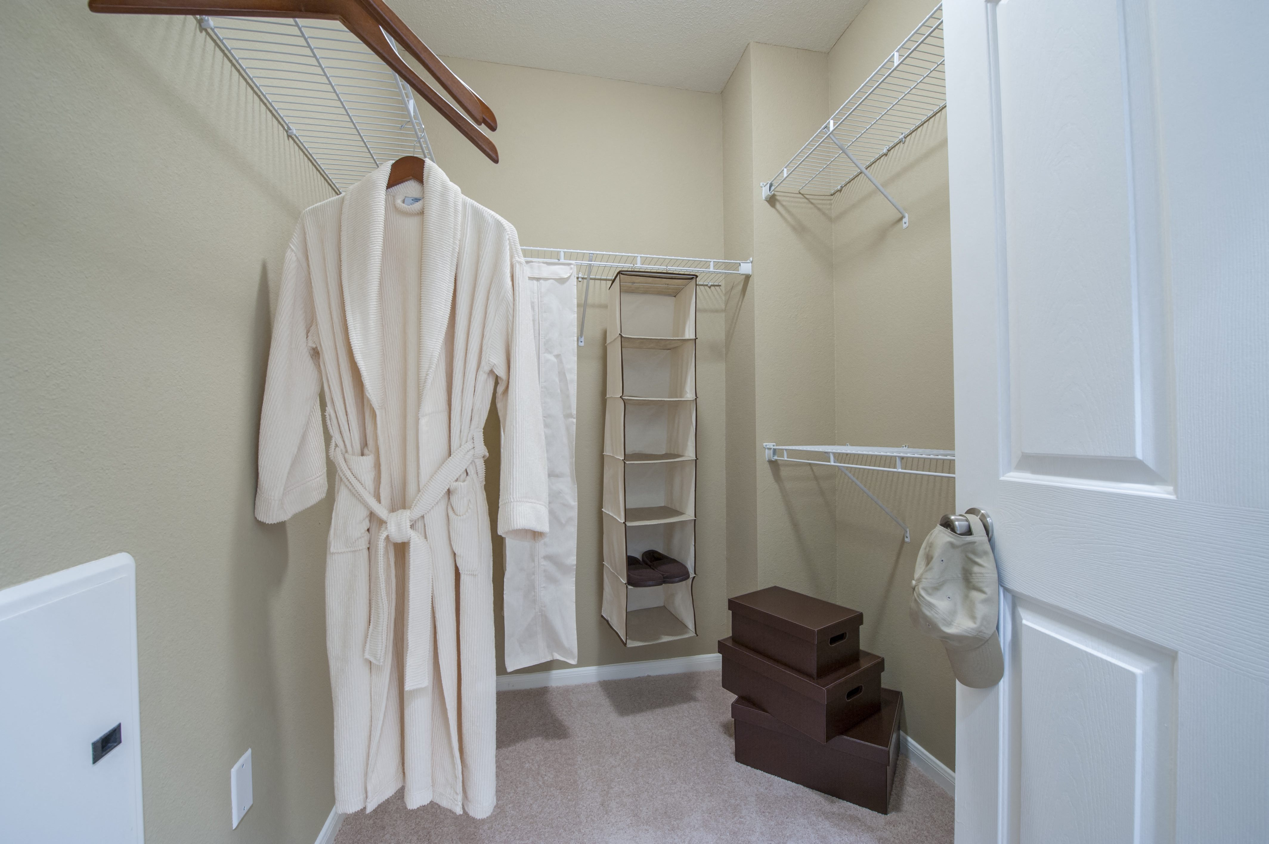 Generous Walk-In Closets With Shelving at Century South Shore, Texas