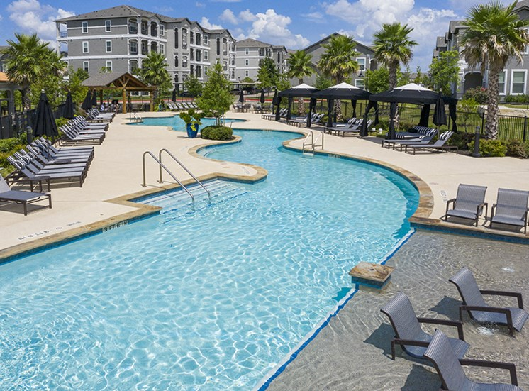 Pool Side Relaxing Area With Sundeck at Century Travesia, Austin, TX, 78728