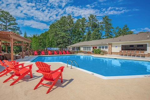 Swimming Pool Red chairs