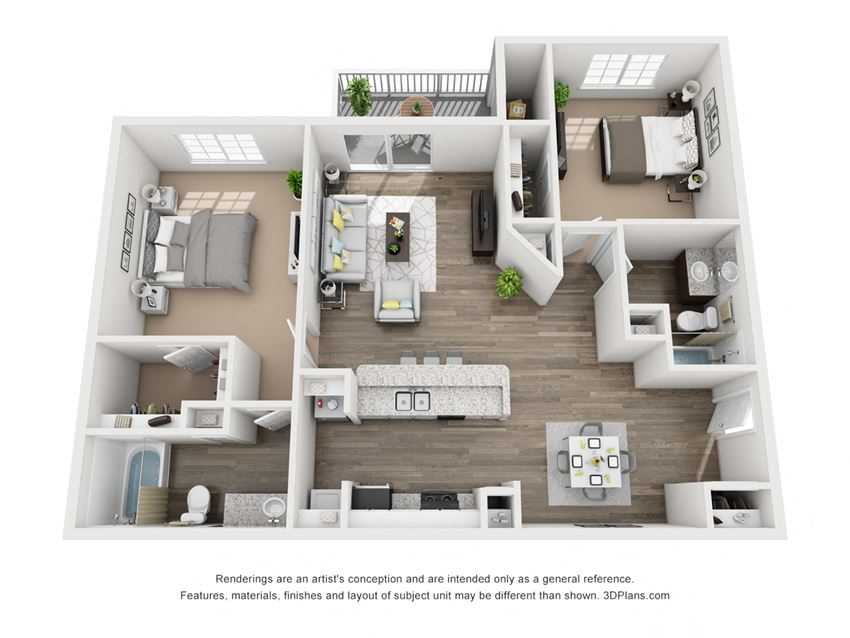 Two Bedroom Two Bath - 1047 Square Feet at Latitude at Riverchase, Hoover, AL, 35216