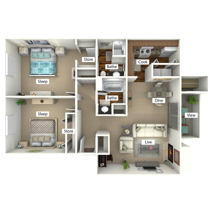 Maple Floor Plan at Forest Ridge on Terrell Mill, Marietta, 30067