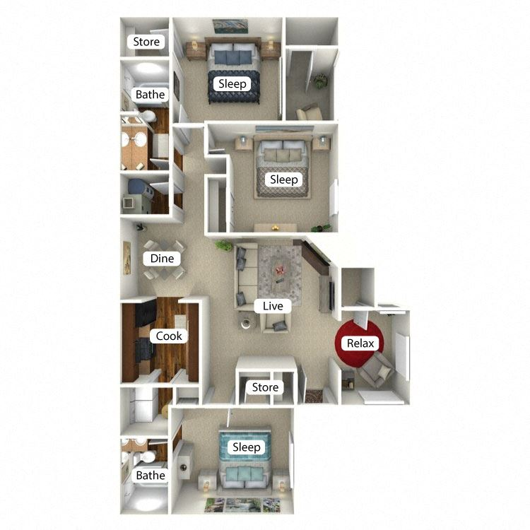Courtland Floor Plan at The Retreat at Arc Way, Norcross