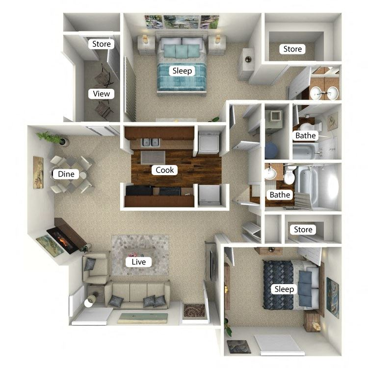 Roswell Floor Plan at The Retreat at Arc Way, Norcross, 30093