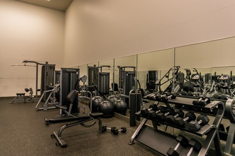 St. Andrews Commons fitness center with yoga balls