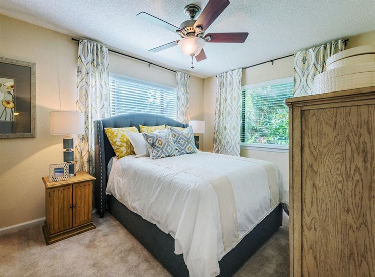 Master Bedroom Feels Large and Spacious with Impressive 9 Foot Ceilings and Large Walk-In Closets at Rosemont Apartments, Roswell, GA 30076