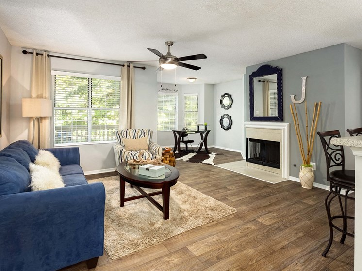Upgraded interiors featuring gas burning fireplace at 670 thornton, Lithia Springs, GA  30122