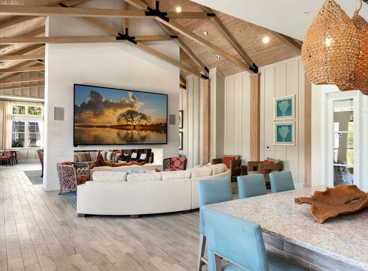 Residence Clubroom with TV and Pool Table at Spyglass Seaside
