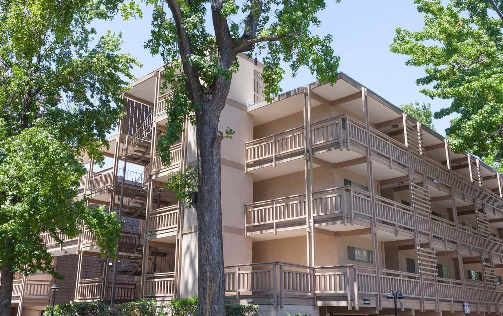 Exterior of building  With Mature Trees at The Glens, San Jose