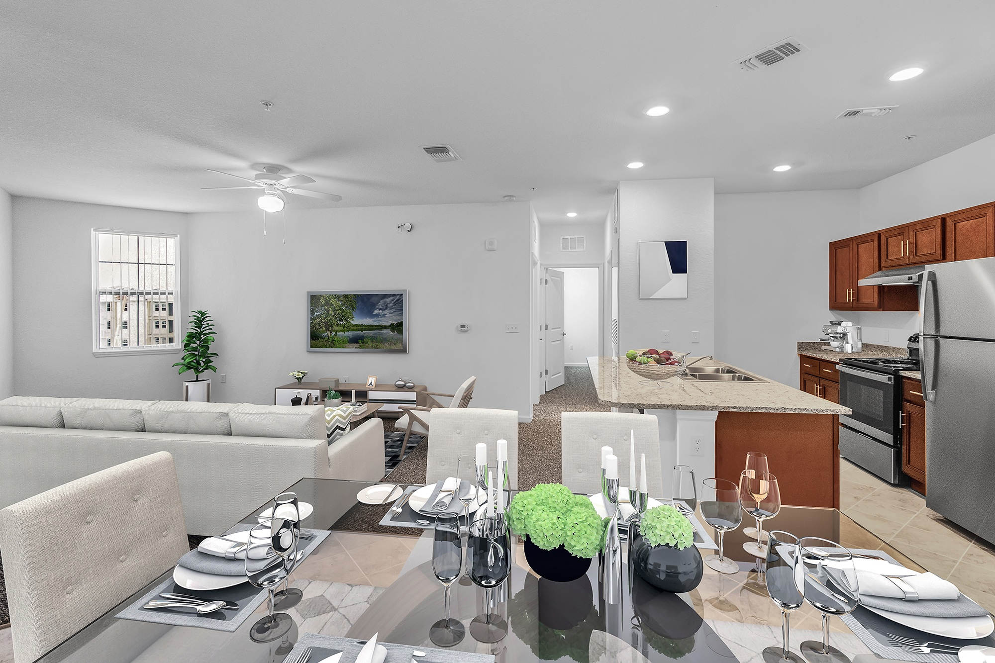 Dining room, living room, kitchen