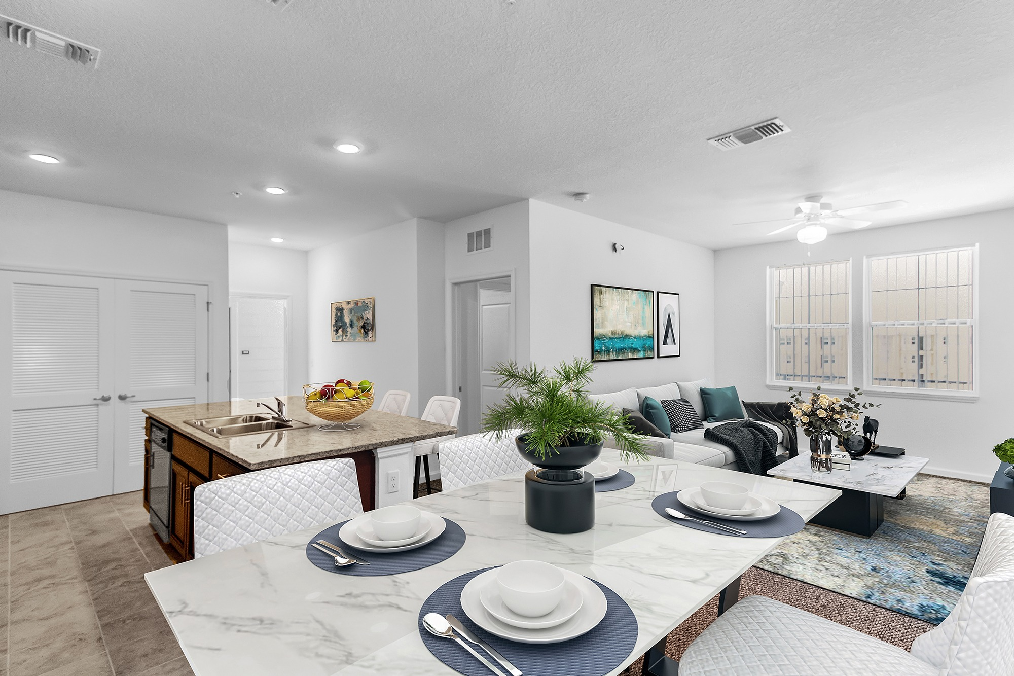 Dining room, kitchen, and living room