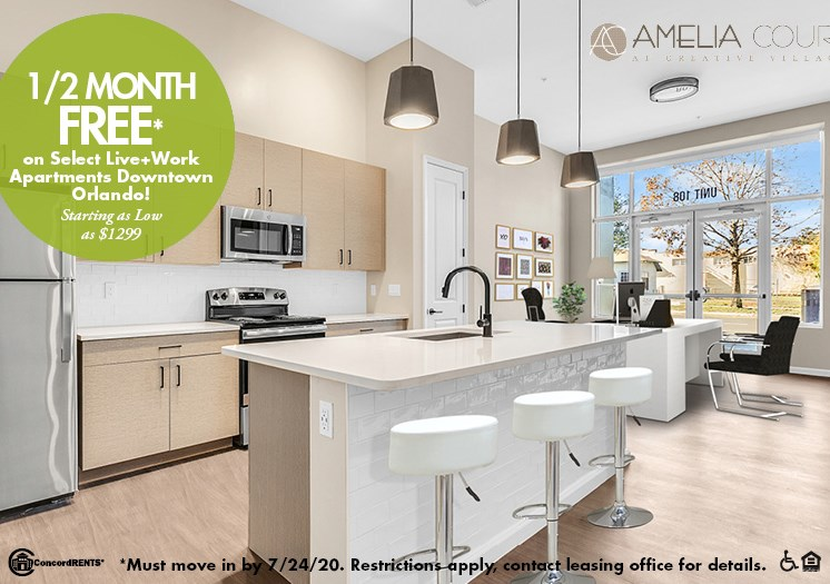 1 Month FREE  on Select Live+Work Apartments Starting as low as $1299 in Downtown Orlando Must move in by 7/24