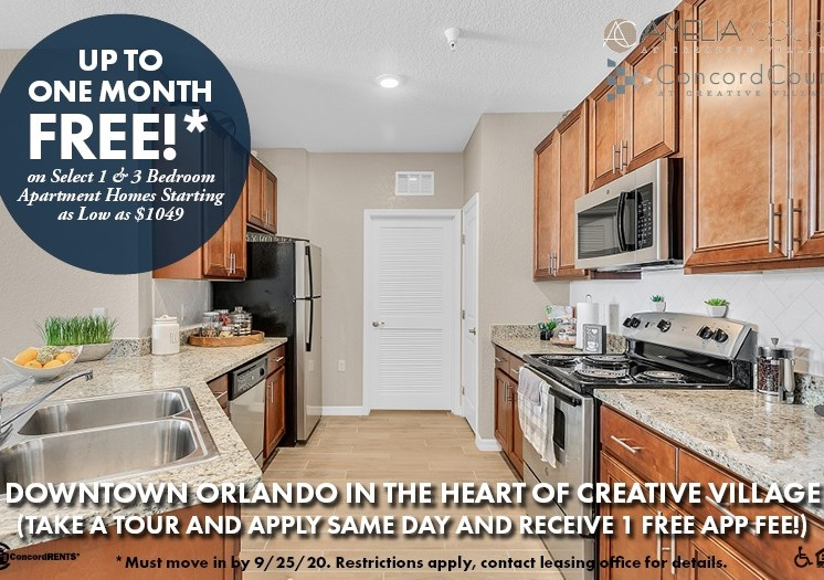 Up to 1 Month Free  on select 1 and 3 bedroom apartment homes Downtown Orlando Starting as low as $1049 Must move in by 9/25 Take a Tour and apply same day and receive 1 FREE App Fee!