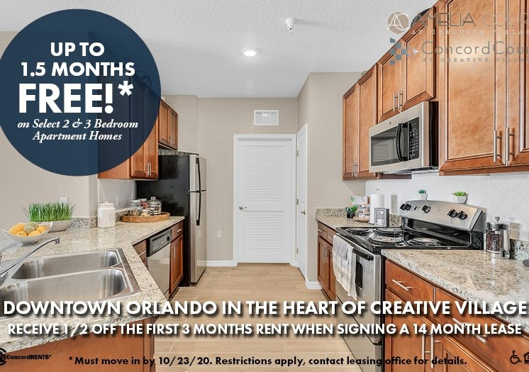 Up to 1 and a half months free on select 2 and 3 bedroom apartment homes