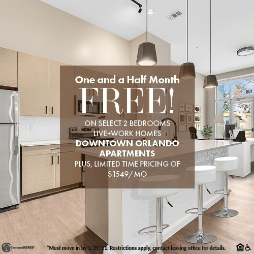 $1549 Limited Time Pricing on Select 2 Bedroom Live+Work Home and Receive 1 and a half Month FREE Must move in by 1/29