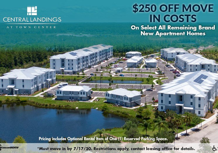 $250 off move in costs on all remaining Brand New Apartment Homes Must move in by 7/17