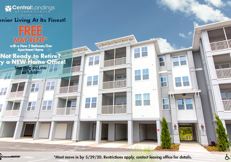 Senior Living at its Finest! FREE May Rent with a New 2 bedroom w/Den Apartment Home Not Ready to Retire, try a NEW Home Office Starting as low as $849 Must move in by 5/29